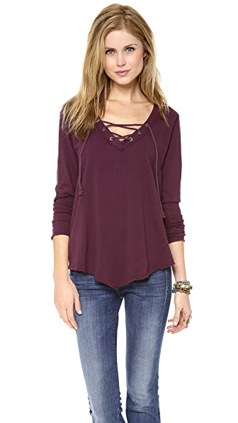 Free People Corded Tie Up Tee