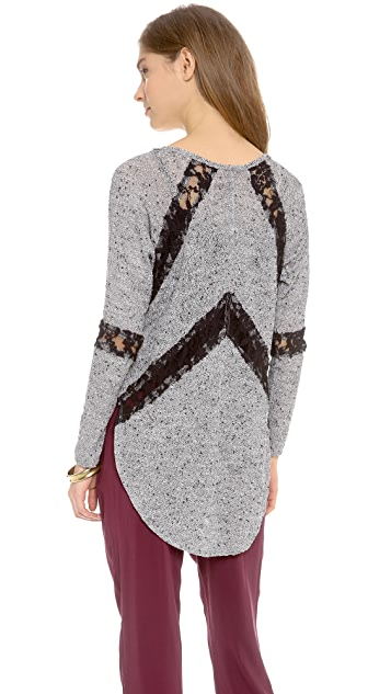 Free People Flying V Hacci Long Sleeve Top