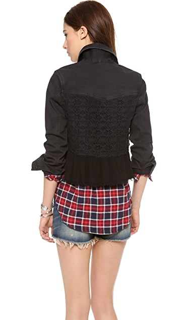 Free People Denim & Lace Mix Jacket
