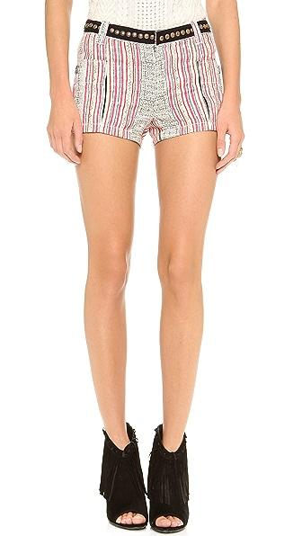 Free People Print Linen Shorts