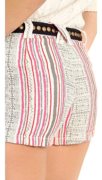 Free People Print Linen Shorts