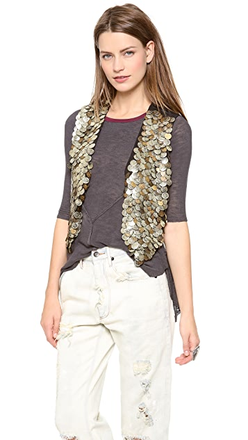 Free People Gold Coin Vest