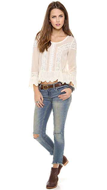 Free People Mid Rise Skinny Destroyed Jeans