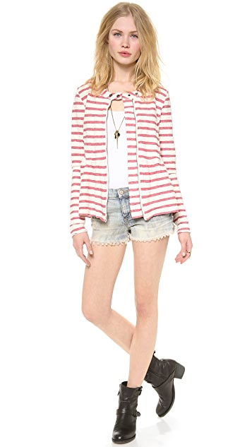 Free People Striped Peplum Jacket