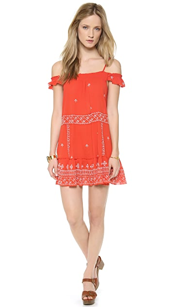 Free People Embroidered Flounce Top