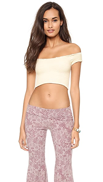 Free People Smocked Seamless Crop Top