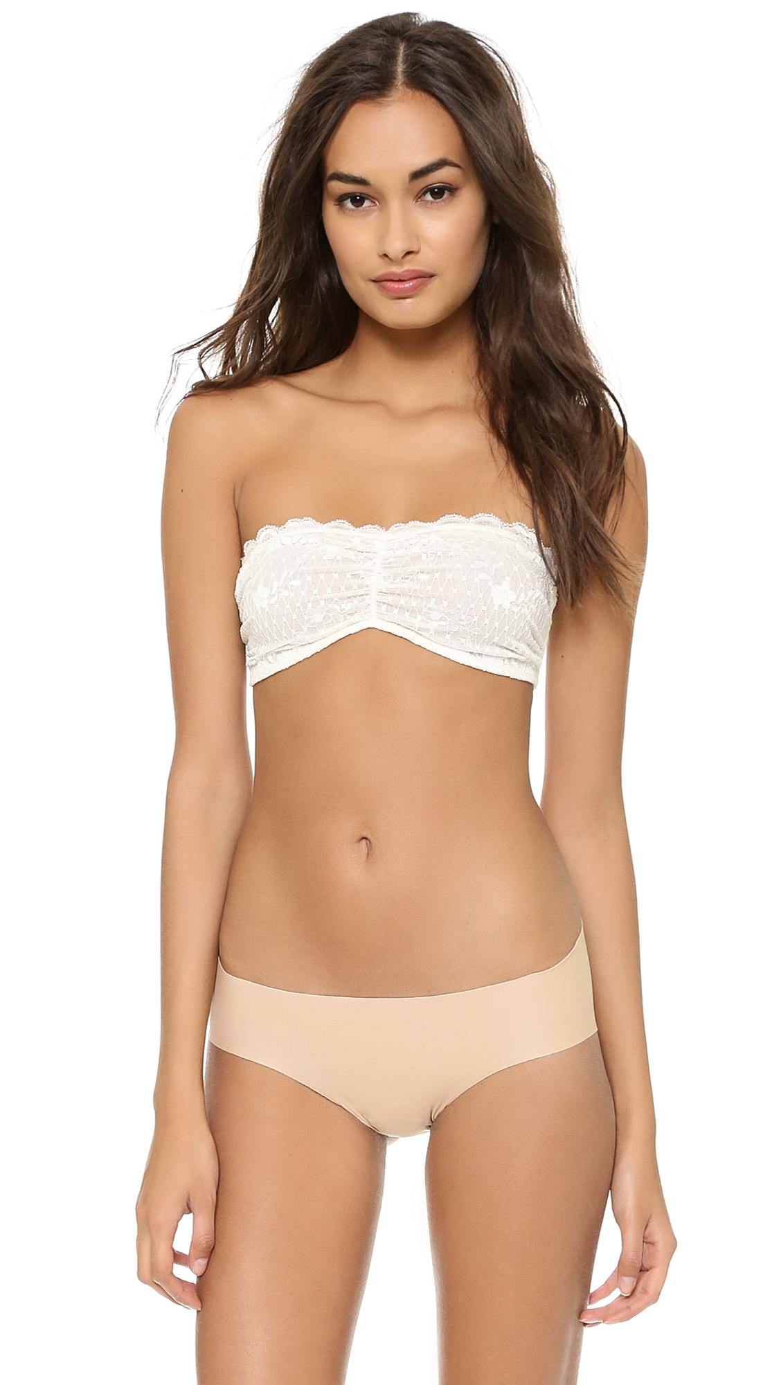 Free People Essential Lace Bandeau Bra - White