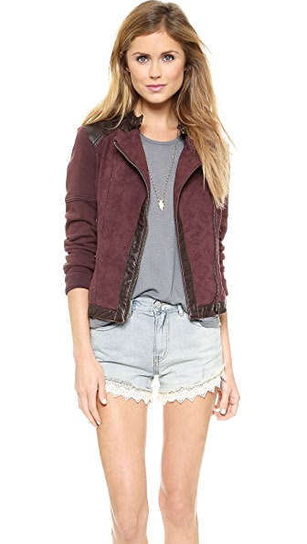 Free People Rugged Jacquard Pieced Vegan Moto Jacket