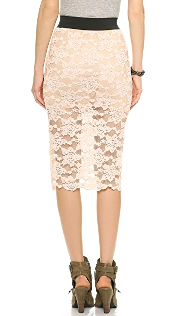 Free People Lace Pencil Skirt