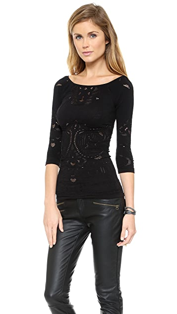 Free People Boat Neck Seamless Layering Tee