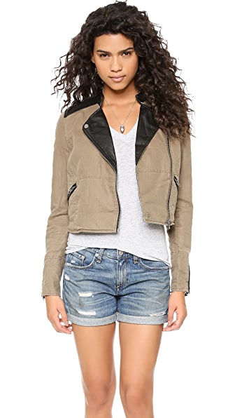 Free People Linen & Vegan Pieced Jacket