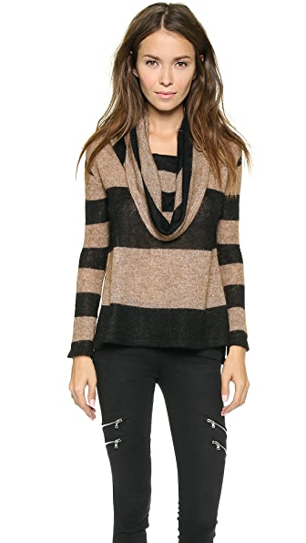 Free People Lulu Rugby Stripe Cowl Sweater