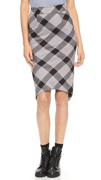 Free People Geometric Plaid Pencil Skirt