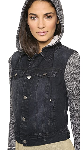 Free People Denim Knit Jacket