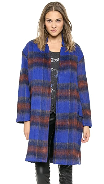Free People Plaid Long & Lean Overcoat