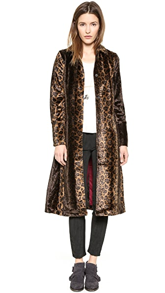 Free People Leopard Faux Pony Hair Overcoat