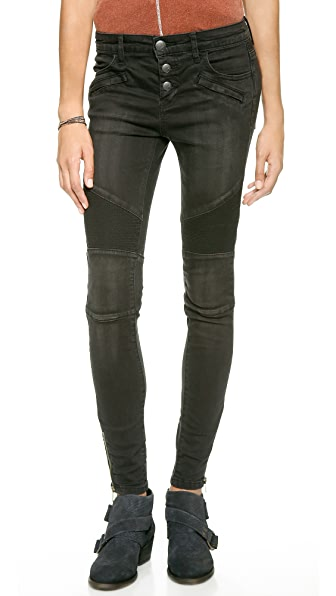 Free People Mid Rise Moto Jeans