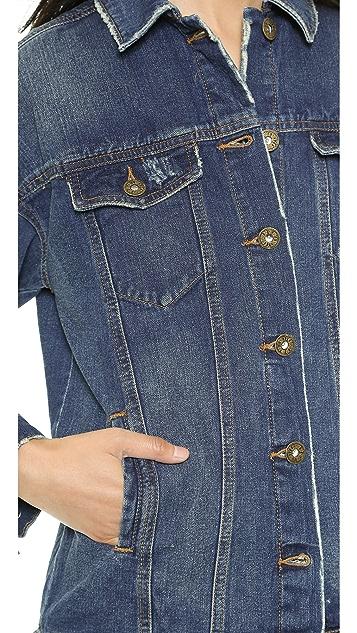 Free People Long Indigo Denim Jacket