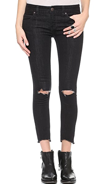 Free People Destroyed Crop Skinny Jeans
