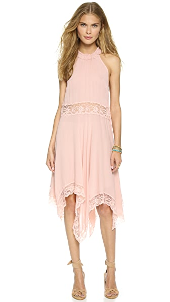 Free People Go Lightly Gauze & Lace Dress