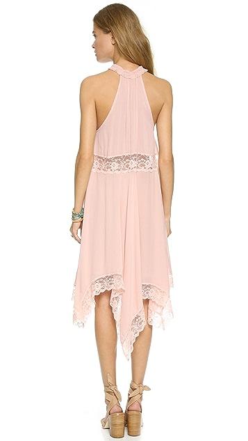 Free People Go Lightly Gauze & Lace Dress