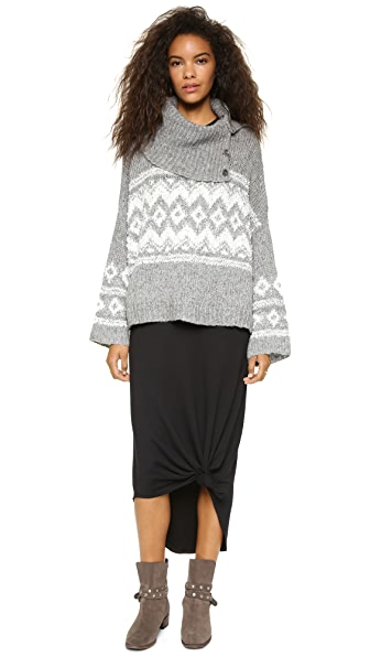 Free People Fair Isle Split Neck Sweater | SHOPBOP