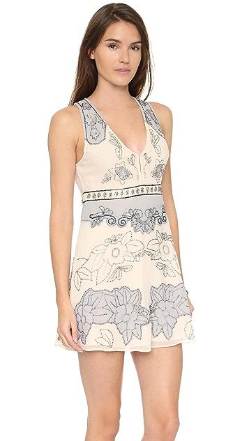 Free People Last Flowers Embellished Mini Dress