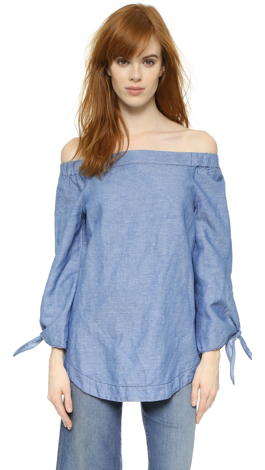 Free People Show Me Some Shoulder Blouse - Chambray at Shopbop