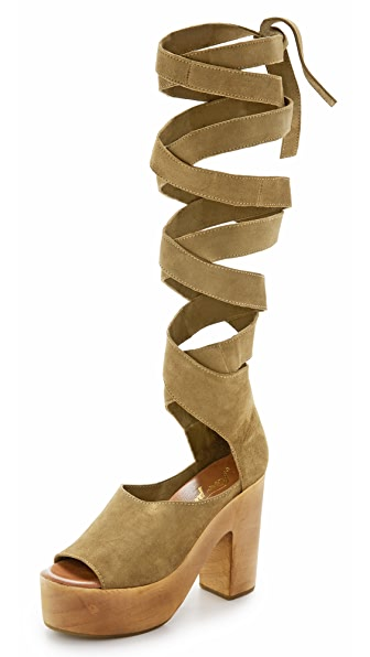 Free People Touch The Sky Wrap Clogs - Taupe at Shopbop
