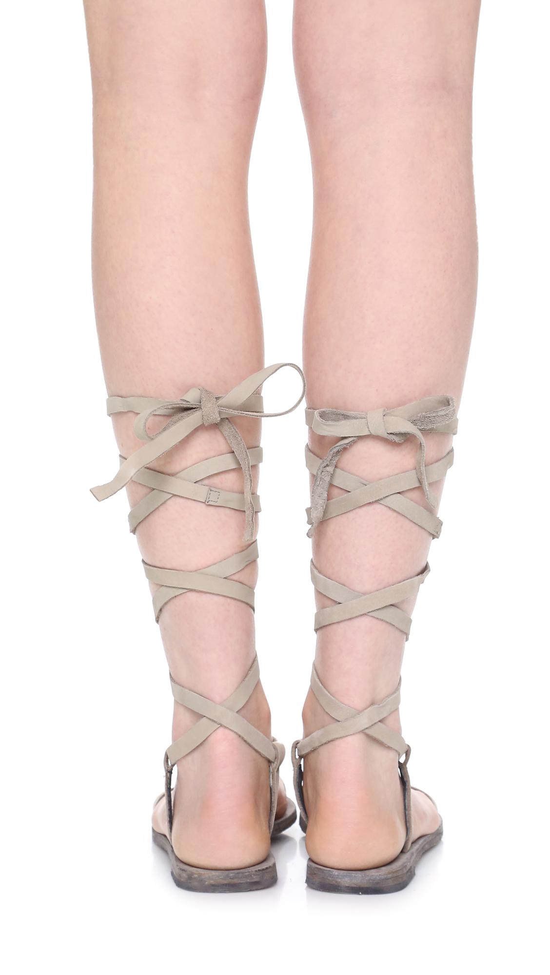 Free People Dahlia Lace-Up Sandal Dove Grey Women