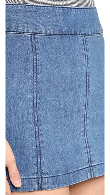 Free People Zip to It Denim Miniskirt