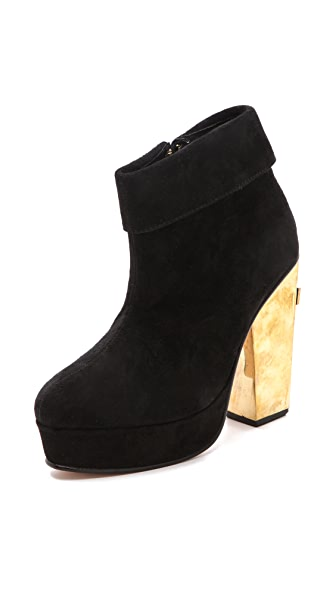 Friend of Mine Cross Heel Suede Booties