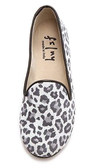 FRENCH SOLE fs/ny Printed Snow Leopard Loafers