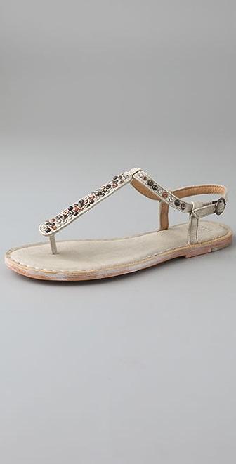 Frye Kayla T Strap Studded Sandals