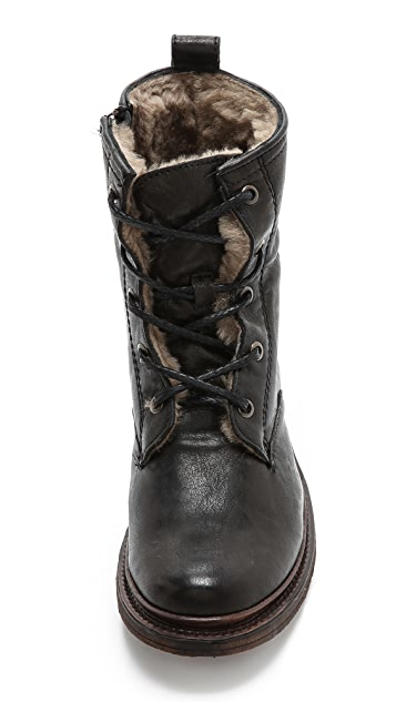 Frye Valerie Lace up Shearling Boots