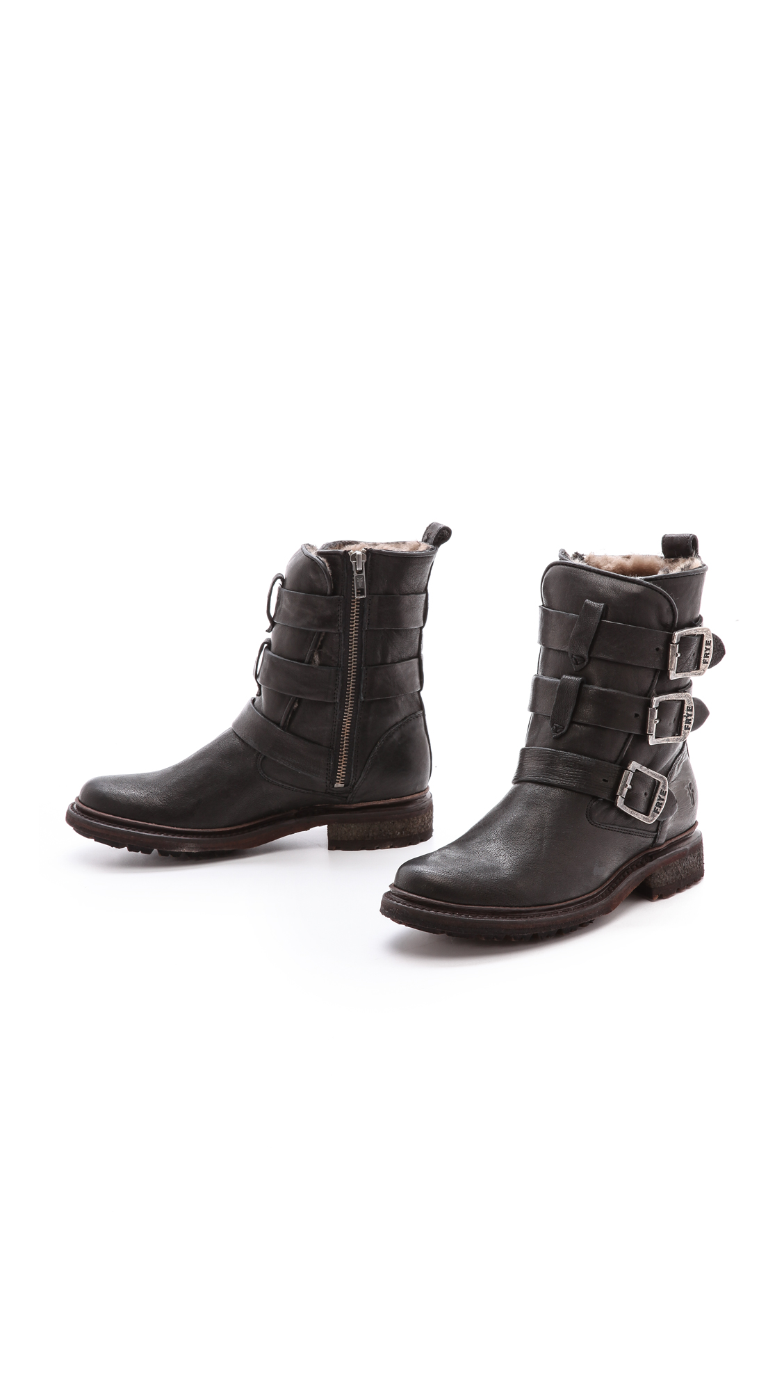 Frye Valerie Shearling Strappy Boots Shopbop D Island Shoes Slip On Zipper Wrinkle Leather Black