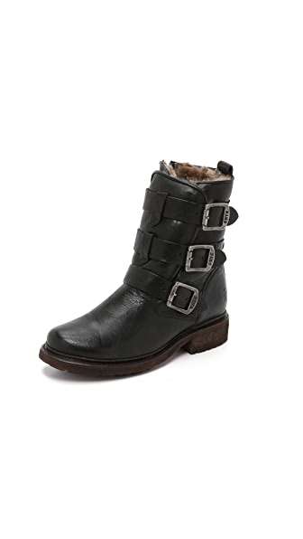 Frye Valerie Shearling Strappy Boots - Black