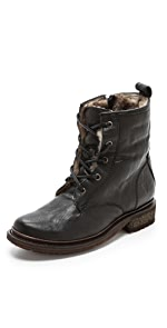Valerie Lace up Shearling Boots                Frye