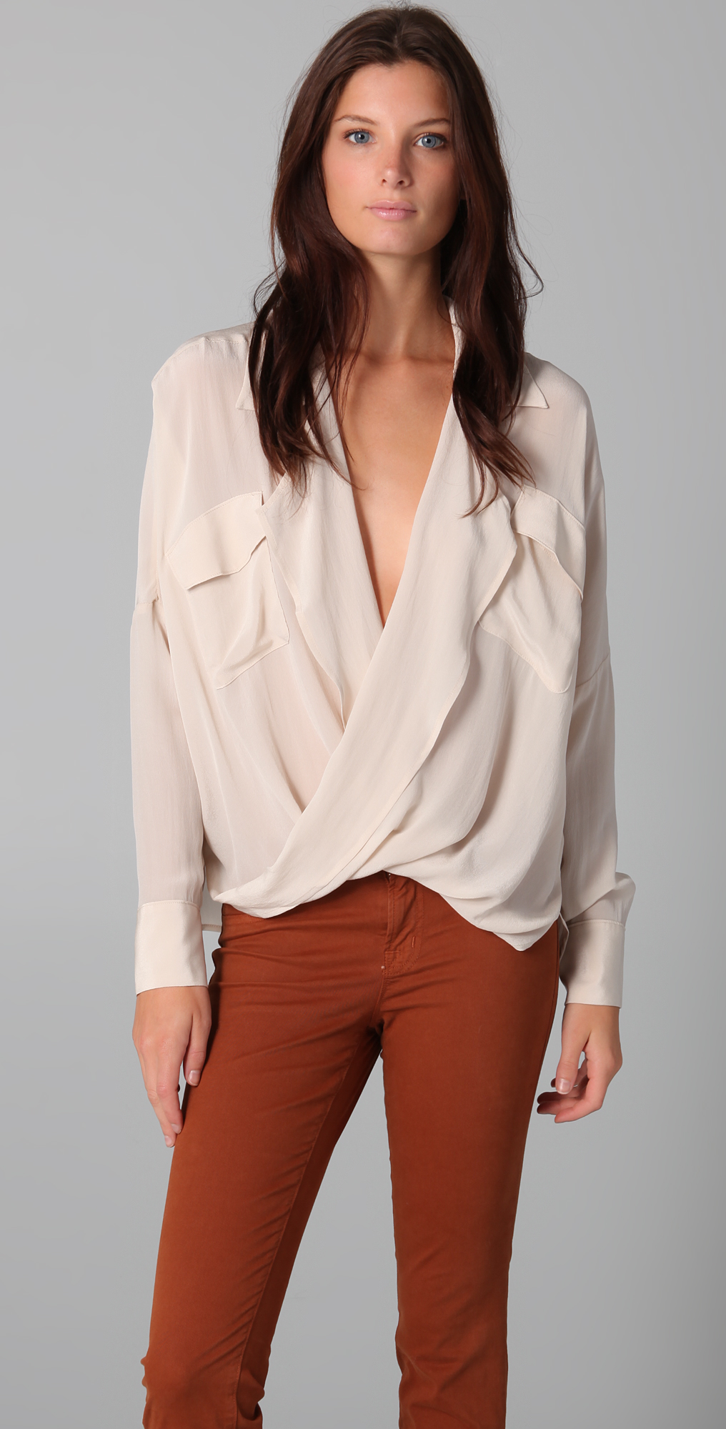Funktional Fold Front Silk Blouse | SHOPBOP SAVE UP TO 25% Use ...