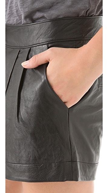 Funktional Pleated Leather Shorts