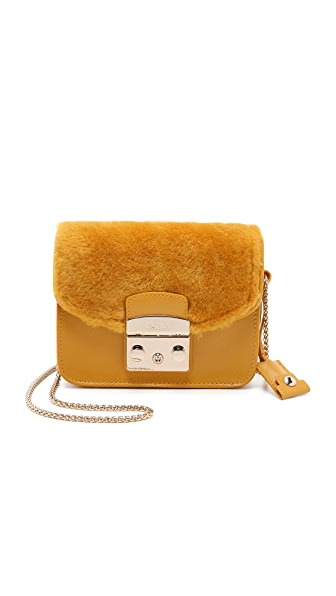 Furla Shearling Metropolis Mini Cross Body Bag