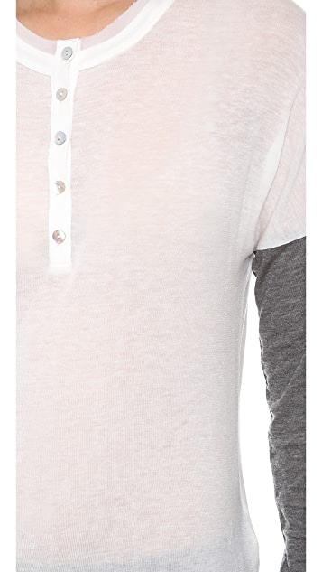 Graham & Spencer 2 Tone Tee with Button Detail
