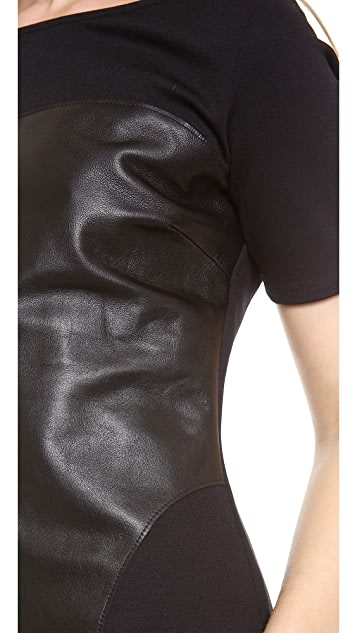 Graham & Spencer Ponti Short Sleeve Top with Leather Detail