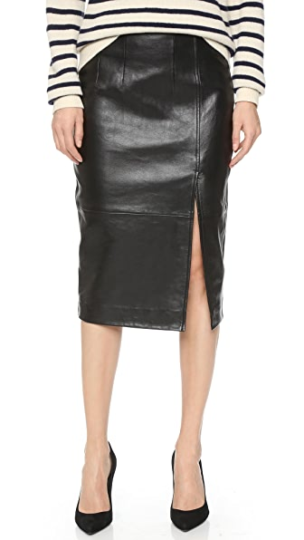 Ganni Moss Leather Skirt
