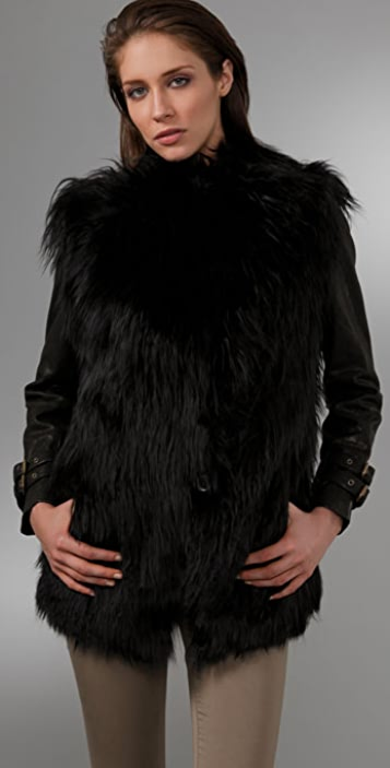 GAR-DE Joffre Curly Fur Coat with Leather Sleeves