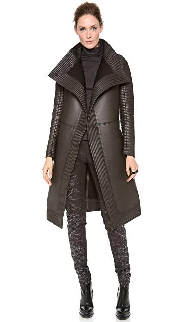 Gareth Pugh Neoprene Long Coat with Quilted Trim