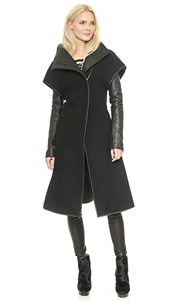 Gareth Pugh Wool & Leather Coat