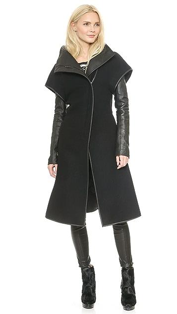 Gareth Pugh Wool & Leather Coat