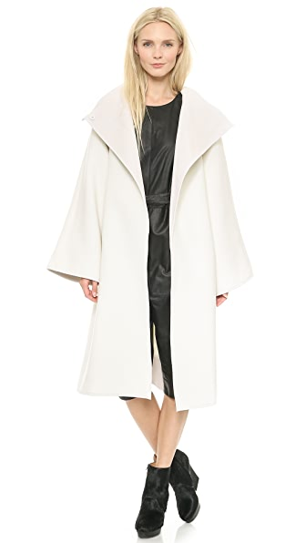 Gareth Pugh Wool Coat with Leather Trim