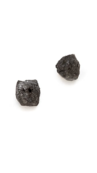 Gabriela Artigas Rough Black Diamond Stud Earrings